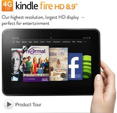 """Kindle Fire HD 8.9"""" 4G LTE Wireless, Dolby Audio, Dual-Band Wi-Fi, 32 GB - Includes Special Offers"""