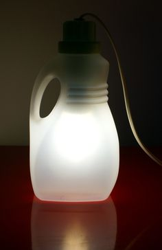lamp created with container for detergent, post-consumer