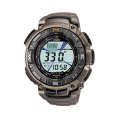 Casio Men's Pathfinder Tough Solar Triple Sensor Digital Chronograph Watch - PAG240T-7, Grey