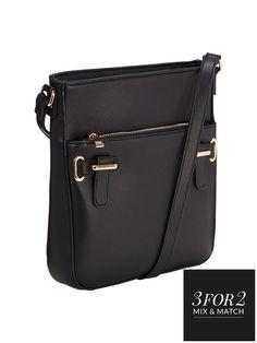V by Very Tab Detail Crossbody Bag - Black   very.co.uk