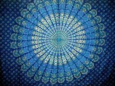 Blue Peacock Print Sanganer Handloom Throw Tapestry Tablecloth Spread by India Arts, http://www.amazon.com/dp/B0055CUH0G/ref=cm_sw_r_pi_dp_cljusb0VQE912