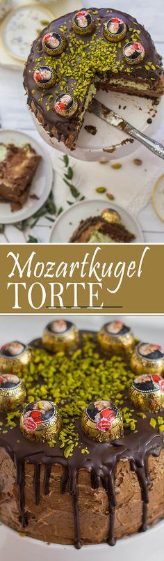 Mozartkugel Torte mit Pistazien, Schokolade und Marzipan