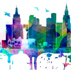 Las Vegas Watercolor Skyline Las Vegas Nevada Cityscape Art Print... ($39) ❤ liked on Polyvore featuring home, home decor, wall art, home & living, home décor, silver, wall decals & murals, wall décor, door decals and black and white wall decals