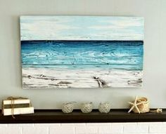 Ocean painted on wood by Aimee Weaver. Give it a try! Featured on CC: http://www.completely-coastal.com/2012/05/painted-old-wood-ocean-wall-art-for-sea.html