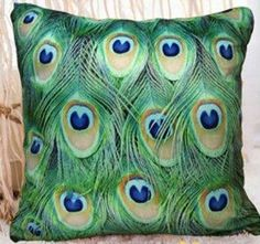 Throw Pillow Cover - Peacock Feathers Design on Both Sides