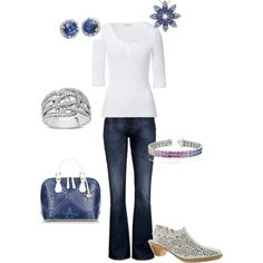 Jewels in Denim & White, created by ccmenzies on Polyvore