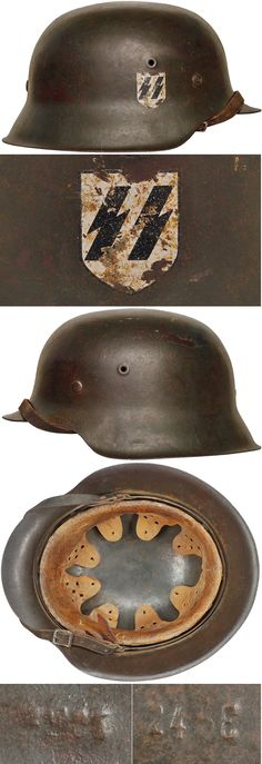 Original SS M42 SINGLE DECAL HELMET. (Stahlhelm M40)  Check out my website for more original WW2 items: http://www.vantiques.nl