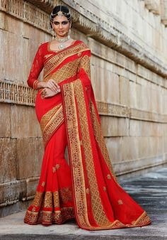 Red Color Faux Georgette Bridal Saree