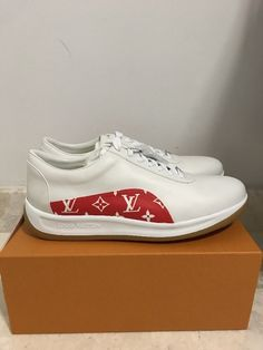 8c0dd779d54 Authentic Louis Vuitton X SUPREME Sneakers Shoe White Red LV Size 13 Brand  New  white  size  brand  shoe  sneakers  louis  vuitton  supreme  authentic
