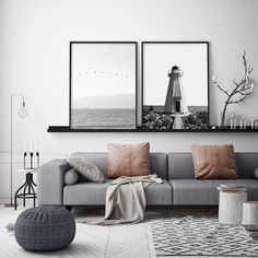 Living Room Grey, Living Room Modern, Black White And Grey Living Room, Gray Living Room Decor Ideas, Decorating A Large Wall In Living Room, Contemporary Living Room Designs, Living Room Artwork, Nordic Living Room, Black And White Interior