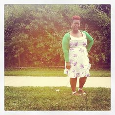 quayla_venezuela's photo on Instagram. Vintage dress. Old navy cardigan. Green. Floral dress. Natural hair. Plus size