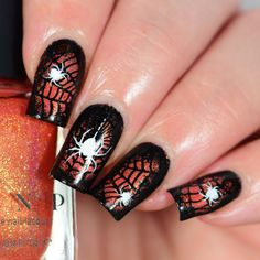 Get ready for the spookiest time of the year with a stamping plate filled with awesome tricks and treats including spider webs, a haunted mansion, ghouls, jack-o-lanterns, dripping blood and so much more! Perfect for Halloween! Blue Nail Designs, Beautiful Nail Designs, Acrylic Nail Designs, Acrylic Nails, Seasonal Nails, Holiday Nails, Christmas Nails, Halloween Nail Designs, Halloween Nail Art