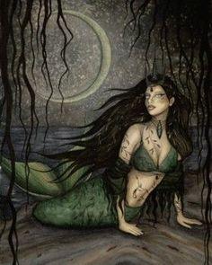 Jessica Galbreth Siren Mermaid Ceramic Tile Art - That Bohemian Girl Fantasy Mermaids, Real Mermaids, Mermaids And Mermen, Under Your Spell, Under The Sea, Mythical Creatures, Sea Creatures, Siren Mermaid, Dark Mermaid