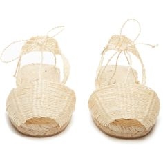 Ball Pagès Home woven-hemp espadrilles ($239) ❤ liked on Polyvore featuring shoes, sandals, beige espadrilles, hemp sandals, peep toe sandals, braided sandals and beige sandals
