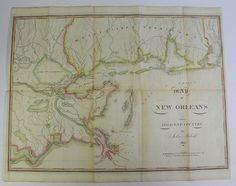 Map of New Orleans and Adjacent Country.  John Melish,   PUBLISHED JUST AFTER THE BATTLE OF NEW ORLEANS, SAME YEAR.  1815.