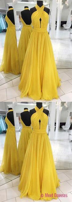 Unique Prom Dress,prom dresses, yellow prom dress, long prom dress,prom dress 2018 PD20188289