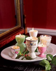 Scour your pantry, flea markets, and antiques shops for items that would make containers for candles — teacups, sugar bowls, jelly jars, or sake cups. Choose pieces solid enough to withstand hot wax. Instructions: Candle-Making   - CountryLiving.com