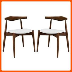 LexMod Stalwart Dining Side Chairs, Dark Walnut/White, Set of 2 - Improve your home (*Amazon Partner-Link)