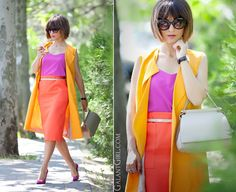 How to mix colors and wear colorblock! Be inspired for everyday experiments with your wardrobe! Color Combinations For Clothes, Color Blocking Outfits, Bright Spring, Colourful Outfits, Orange Outfits, Mix Style, Fashion Capsule, Asos, Fashion Dresses