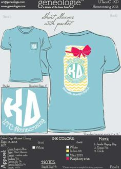 Homecoming Alpha Xi Delta, Phi Mu, Kappa Delta, Cheerleading Company, Delta Girl, Sorority Life, Ink Color, Shirt Ideas, Homecoming