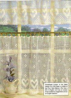 Crochet Pattern Sweetheart Curtain and Valance Heart Motif | eBay