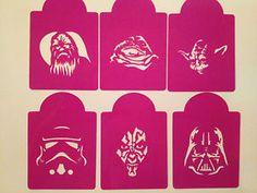 Star Wars Stencils Printable | STAR WARS inspired cake stencils cookie cupcake size,great for GLITTER ...