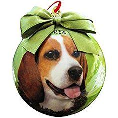 BEAGLE DOG GLITTER CHRISTMAS TREE DECORATIONS MATCHING RIBBON SPARKLY COLOUR