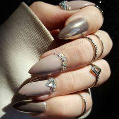 Grey Nude Silver Chrome with Swarovski Crystal Accents Glue on