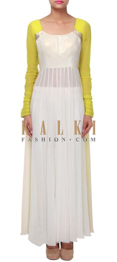 Buy Online from the link below. We ship worldwide (Free Shipping over US$100) http://www.kalkifashion.com/off-white-and-green-straight-suit-enhanced-in-silver-foil-only-on-kalki.html
