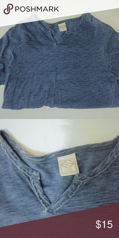 Lucky Brand V-Neck T-Shirt (Blue) Get ready for the summer with this v-neck from Lucky Brand.  Used Dri-Fit or sports clothing are washed with Tide Pods and Baking Soda or White Vinegar.  All other used products sold by super22saver55 are pre-washed using Tide Pods, Downy Unstoppables, and Oxygen Orange for your convenience. Lucky Brand Shirts Tees - Short Sleeve