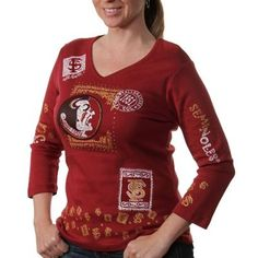 Florida State Seminoles (FSU) Women's Woodblock Three-Quarter Sleeve V-Neck T-Shirt - Garnet