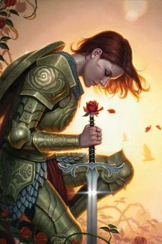 The Rose Knight. Is the rose at the pommel part of the sword or simply held by her in that position? (note rose motifs on her armour) paladin redemption Fantasy Warrior, Woman Warrior, Fantasy Sword, Fantasy Battle, Final Fantasy, Fantasy Anime, Fantasy Kunst, Fantasy Artwork, Cover Art