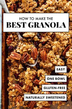 Healthy Snacks This healthy granola is so delicious and simply the BEST! It uses maple syrup (or honey), coconut oil, old-fashioned oats, and nuts and dried fruit of your choosing. It's naturally sweetened and extra clumpy! Gourmet Recipes, Cooking Recipes, Sausage Recipes, Chicken Recipes, Cookbook Recipes, Dip Recipes, Potato Recipes, Crockpot Recipes, Snack Recipes