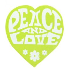 50 Stickers Hippie Coeur vert anis Peace and Love