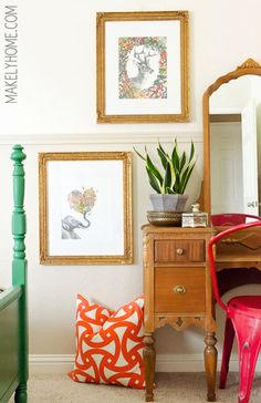 Fun artwork for a little girl's room via MakelyHome.com...great desk mixed with metal chair
