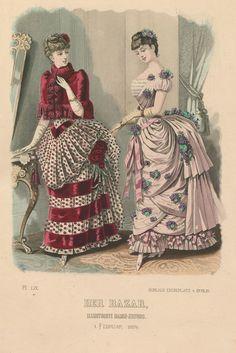 Der Bazar 1884 - a profusion of purple flower detailing! Very Stella de Libero :) Victorian Era Fashion, 1880s Fashion, Vintage Fashion, Historical Costume, Historical Clothing, 19th Century Fashion, Mode Vintage, Fashion Plates, Fashion History
