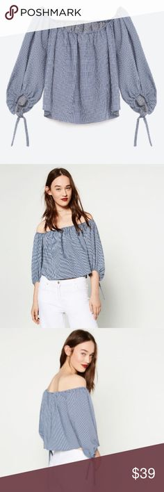 b5a2a3014e7bba Zara navy white gingham off the shoulder blouse Good condition. Can be worn  in or