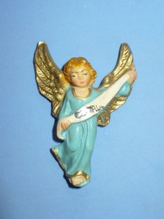"VINTAGE CHRISTMAS ""GLORIA"" ANGEL FOR NATIVITY PLASTER COMPOSITION ITALY"