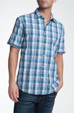 James Campbell 'Liesback' Plaid Sport Shirt | blue men's short sleeve shirt