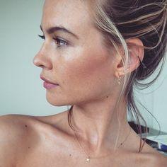 Makeup artist Angie Parker uses Kat Burki skincare to achieve this gorgeous glow on Victoria's Secret model Behati Prinsloo