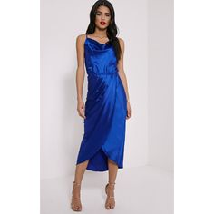 Gauge Navy Satin Wrap Front Maxi Dress ($7.86) ❤ liked on Polyvore featuring dresses, blue, wrap front dress, satin spaghetti strap dress, blue maxi dress, blue spaghetti strap dress and navy dress