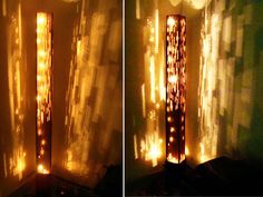 Floor lamp is made out of reused Cardboard boxes.