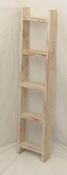 White Wooden Ladder Shelf. $36.00, via Etsy.