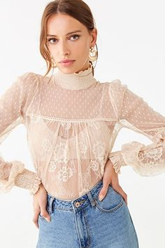 Darling 50s Sheer Ruffled and Tiered Embroidered Lace Sleeved Peasant Top
