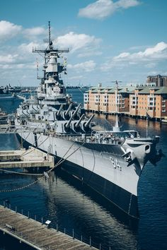 USS Wisconsin United States Battleship sitting in downtown Norfolk.