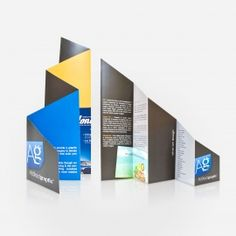 I love this brochure design with the diagonal cut and accordion fold.