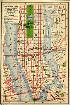 New York City, Battery to 110th Street Map, 1916