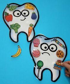 Healthy Teeth Food Sort - Actividad de salud dental para niños. #preschool #dentalhealth #preschoolworksheets