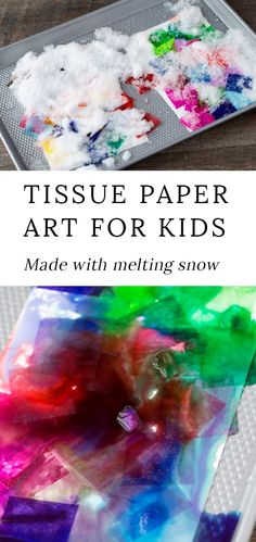 Easy enough for kids of all ages, this colorful tissue paper art project uses bleeding tissue paper and snow to create one-of-a-kind paintings. Paper Art Projects, Winter Art Projects, Toddler Art Projects, Easy Art Projects, Projects For Kids, Project Ideas, Winter Activities For Kids, Winter Crafts For Kids, Art Activities