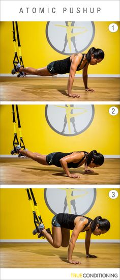Take your push ups to the next level by combining a plank and a push with the TRX Atomic Push Up.